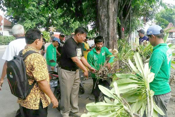 Kasatpolppp Sidoarjo Widiantoro Basuki saat menanam pohon samboja, pohon luntas bersama petugas DLHK Sidoarjo (Memo X/Agus HP)