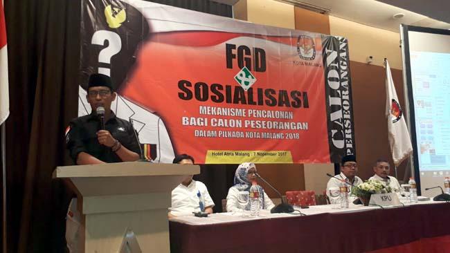 25 November 2017, Calon Perseorangan Harus Serahkan 46 Ribu Dukungan ke KPU Kota Malang