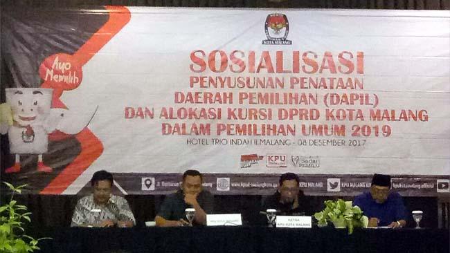 KPU Kota Malang Gelar Sosialisasi Penyusunan Dapil dan Alokasi Kursi DPRD Pemilu 2019