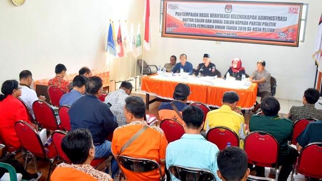 KPU Kota Blitar Beri Waktu 10 Hari Perbaikan Dokumen Bacaleg